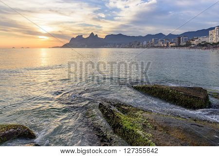 Ipanema Leblon and Arpoador beaches During seen the sunset of Rio de Janeiro with the Two Brothers hill and the Gavea stone in the background ** Note: Visible grain at 100%, best at smaller sizes