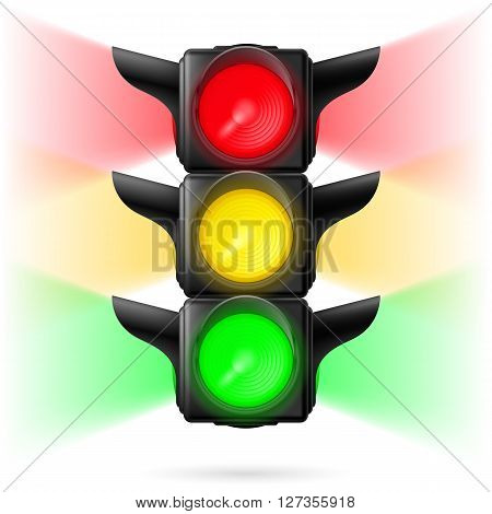 Realistic traffic lights with all three colors on and sidelight. Illustration on white background
