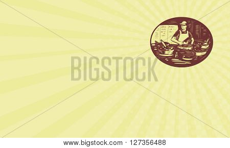 Business card showing illustration of a Taco chef cook wearing hat and apron holding meat cleaver knife in market food stall with pots set inside oval shape done in retro style. poster
