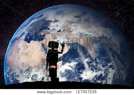 Robot looking on the planet Earth from space. Future technology concept, artificial intelligence. 3D rendering. Elements of this image furnished by NASA