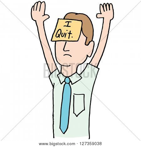 An image of a surrendering businessman with arms raised.