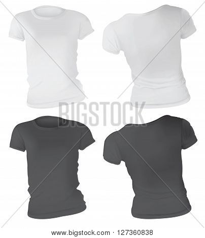 Vector illustration of black and white t-shirt template for women front and back realistic gradient mesh design isolated on white