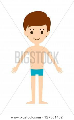 Swimming boy freestyle summer fun swim pool leisure activity character vector illustration. Funny swimming boy and joy active swimming boy. Swimming boy outdoor healthy lifestyle.