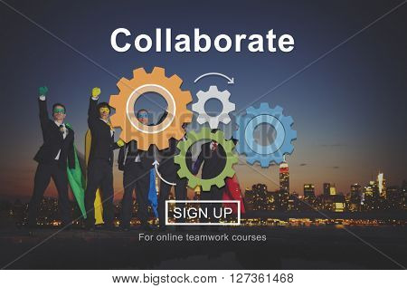 Collaboration Collaborate Connection Superheroes Concept