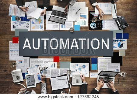 Automation Production System Operation Precess Concept poster