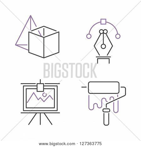 Set silhouette line icons of design and designers tools, mono line paint icons design symbols. Designers drawing design icons creative instrument. Vector mono art line icons set design paint brush.