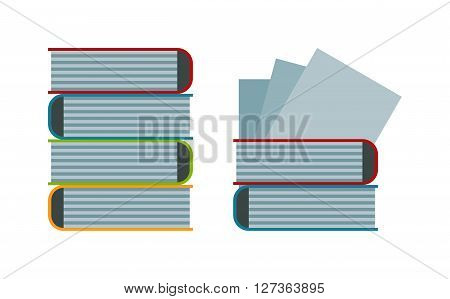 Big stack of old antique books education literature school vector illustration. Books stack wisdom information and university books stack. Knowledge books stack learning collection, bookstore stack.