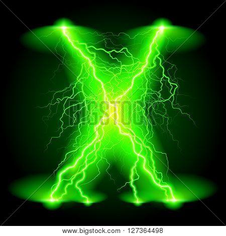 Criss-cross lines of branchy bright green lightning.