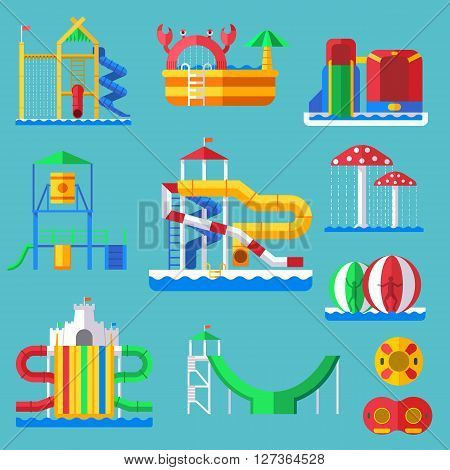 Water amusement aquapark playground with slides and splash pads for family fun vector illustration. Summer aquapark leisure and happy child aquapark. Amusement swim fun childhood aquapark.