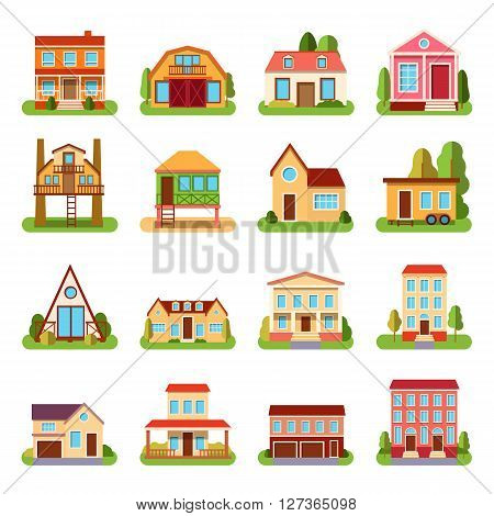 Set of detailed colorful cottage house building flat style modern constructions vector illustration. House building architecture home construction and urban house building apartment. House building.