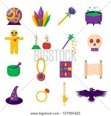 Theater magic icon set trick star surprise entertainment collection wizard vector illustration. Magic show mystery icons and fun magic festival icons. Magic icons wand trick performance.