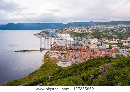 CORNER BROOK CANADA - AUGUST 22 2015: Overlooking the Corner Brook Pulp and Paper Mill and surrounding area in western Newfoundland.