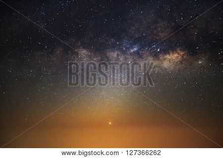 Milky Way galaxy Long exposure photograph with grain