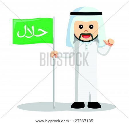 Arabic man halal flag  .eps 10 vector illustration flat design