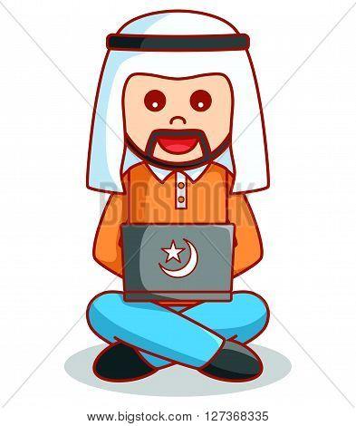 Arabic business man using laptop .eps10 editable vector illustration design