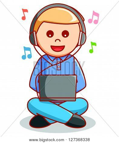Business man using laptop  illustration .eps10 editable vector illustration design