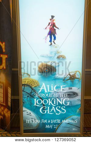 LAS VEGAS - April 13 : A display for the movie 'Alice through the looking glass' at Caesars Palace during CinemaCon the official convention of the National Association of Theatre Owners on April 13 2016 in Las Vegas