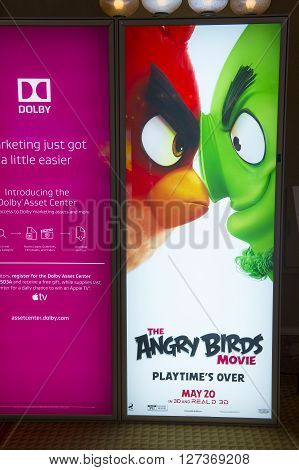 LAS VEGAS - April 13 : A display for the movie 'Angry Birds' at Caesars Palace during CinemaCon the official convention of the National Association of Theatre Owners on April 13 2016 in Las Vegas