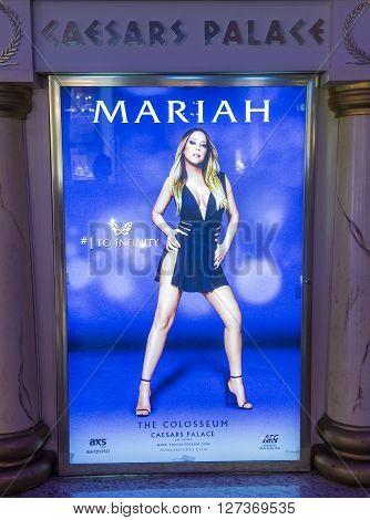 LAS VEGAS - APRIL 13 : The Mariah Carey 'MARIAH 1 TO INFINITY' poster on April 13 2016 in Las Vegas Nevada. Mariah Carey is best-selling female artist of all time.