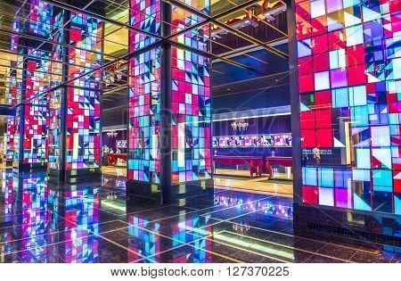 LAS VEGAS - APRIL 13 : The Cosmopolitan hotel lobby in Las Vegas on April 13 2016. The Cosmopolitan opened in 2010 and it has 2995 rooms and 75000 sq ft casino.