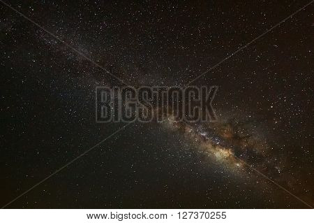 Milky Way Galaxy On A Night Sky,long Exposure Photograph.with Grain