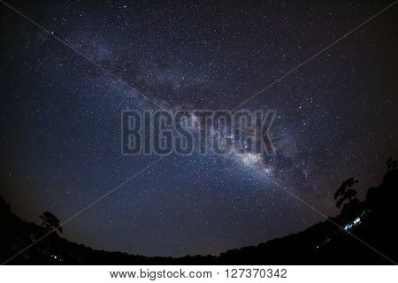 Beautiful Milky Way Galaxy On A Night Sky And Silhouette Of Tree With Cloud, Long Exposure Photograp