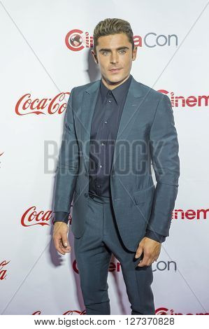 LAS VEGAS - APRIL 14 : Actor Zac Efron one of the recipients of the Comedy Stars of the Year Award attends the CinemaCon Big Screen Achievement Awards at The Caesars Palace on April 14 2016 in Las Vegas