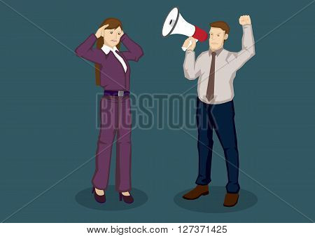 Cartoon businesswoman using hands to cup her ears and businessman using megaphone to speak to her. Vector cartoon illustration isolated on green background.