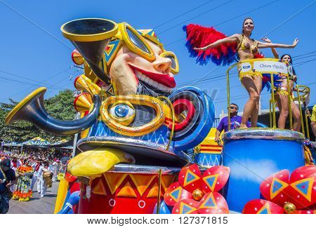 BARRANQUILLA COLOMBIA - FEB 07 : Float parade in the Barranquilla Carnival in Barranquilla Colombia on February 07 2016. Barranquilla Carnival is one of the biggest carnival in the world