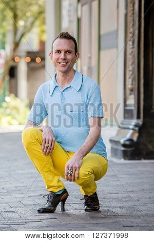 Gender Fluid Man With High Heels