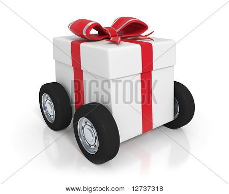 White Gift Box With Wheels