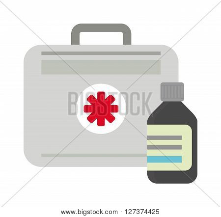 Vector illustration of first aid kit box medical emergency healthcare. Hospital first aid kit equipment and doctor case first aid kit. Safety accident bag first aid kit. Emergency medicine red box.