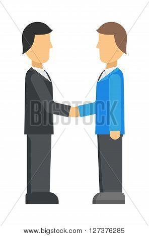 Double exposure of businessman meeting handshake industrial business team partnership character vector illustration. Meeting handshake team agreement and meeting handshake corporate success contract.