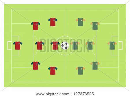 Advertising card for football with football field, vector illustration