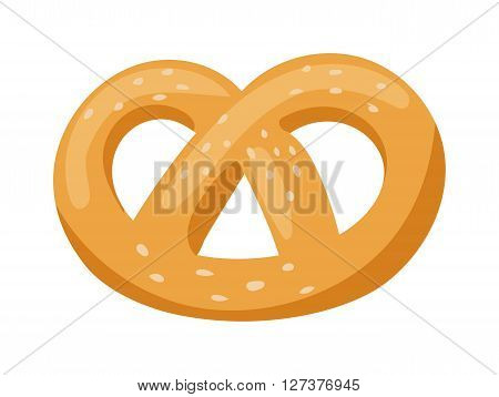 Soft pretzel isolated salty snack fresh german tasty traditional food vector icon. Salty pretzel snack and pretzel delicious. Bakery pretzel twist bavaria fresh food snack and bakery pretzel shape.