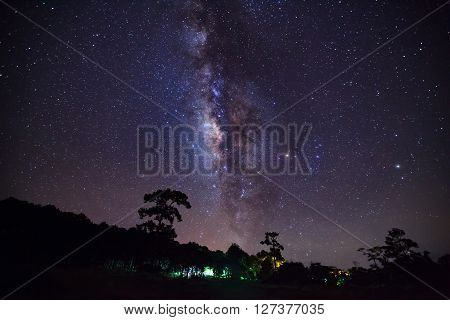 Milky Way At Phu Hin Rong Kla National Park,phitsanulok Thailand,long Exposure Photograph With Grain