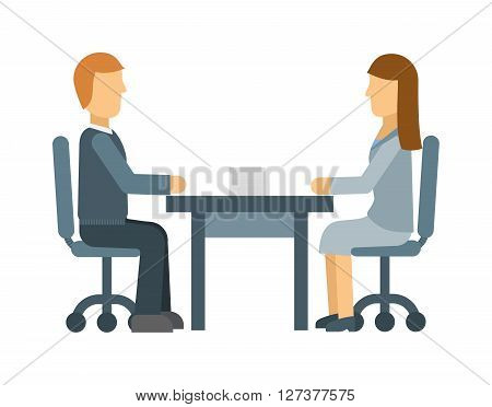 Business lunch meeting in a cafe restaurant, table, partnership, corporate food discussion vector illustration. Business lunch meeting, corporate business lunch. Business lunch communication people.
