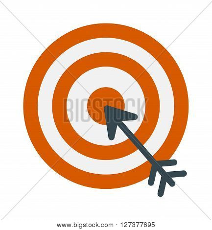 Successful shoot goal icon darts target aim on white background vector illustration. Success arrow goal icon and game sport goal icon. Dartboard goal icon accuracy, strategy perfect goal icon.