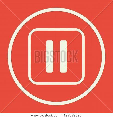 Music Pause Icon In Vector Format. Premium Quality Music Pause. Web Graphic Music Pause Sign On Red
