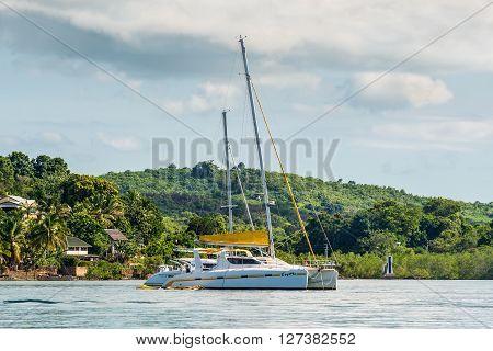 Hell-Ville Madagascar - December 19 2015: Yacht catamaran Coyotte anchored at Hell-Ville Nosy Be Island Madagascar.