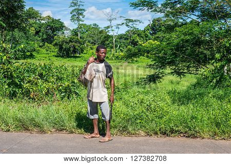 Ambatozavavy Nosy Be Madagascar - December 19 2015: Man with a machete of ethnicity Sakalava native of Nosy Be island north of Madagascar near the Ambatozavavy village.