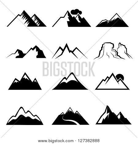 Monochrome mountain vector icons. Snowy mountains signs or mountains peaks vector symbols