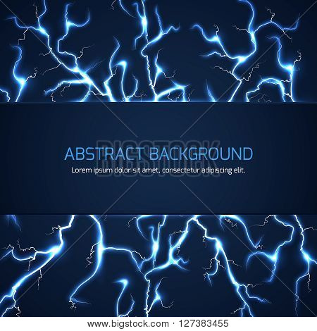 Scientific sci-fi vector abstract background with lightnings. High powerful lightning back, dangerous lightning pattern or thunderstorm lightning vector illustration with text