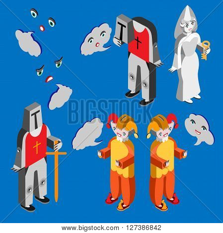 Jester, white lady, headleess knight, knight, heads with different facial expressions and speech bubble. Isometric icon set.  Vector illustration.