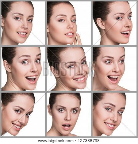 Collage of woman with different facial expressions
