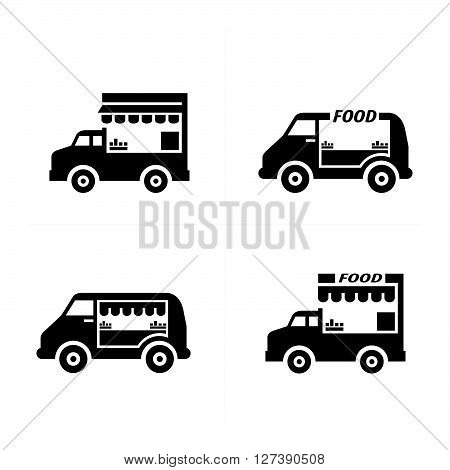Mobile food car icons support vector design eps 10.