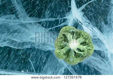 Broccoli is beautiful on pure ice. One of the most beautiful glacial lakes on earth - Lake Baikal.