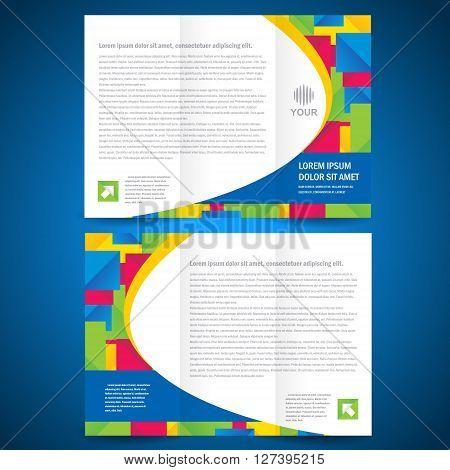 brochure tri-fold quadrate colorful element design template