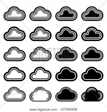 vector sky cloud black symbols