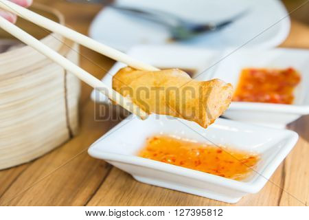Dimsum in the steam basket . Chinese dim sum bamboo steamer. Dimsum as a snack or appetizer. ** Note: Soft Focus at 100%, best at smaller sizes